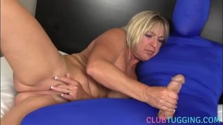 Busty Mature Prostitute Wanks Costumed Mans Dick